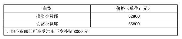 售价5.98万元—6.58万元 萨普轿卡小货郎震撼上市